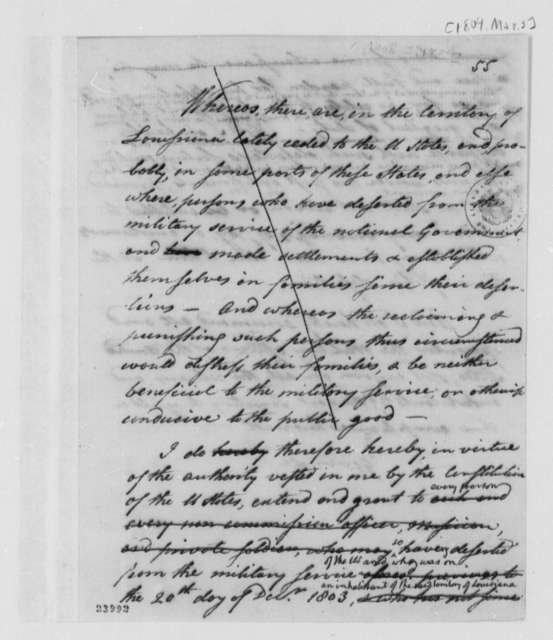 Thomas Jefferson to Levi Lincoln, March 3, 1804, Pardons for Deserters in Louisiana