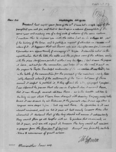 Thomas Jefferson to Meriwether Jones, October 19, 1804