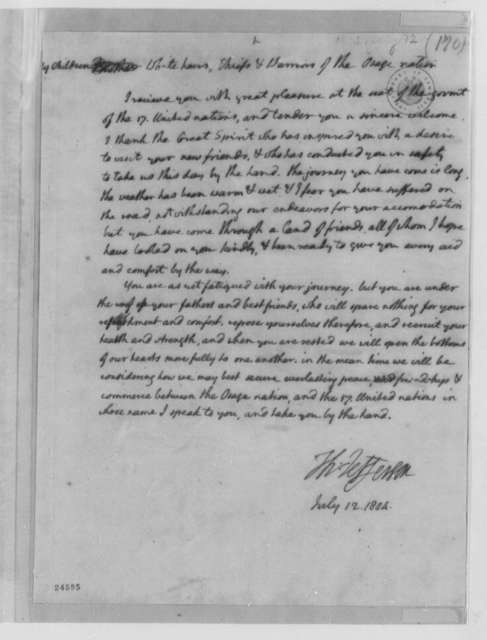 Thomas Jefferson to Osage Chief White Hair, July 12, 1804, Address of Welcome