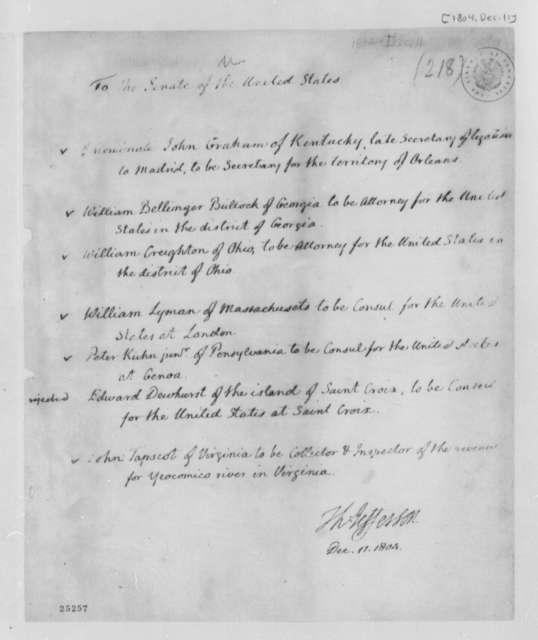 Thomas Jefferson to Senate, December 11, 1804