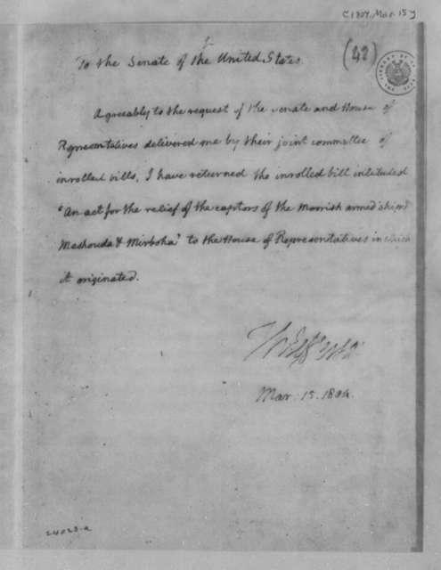 Thomas Jefferson to Senate, March 15, 1804