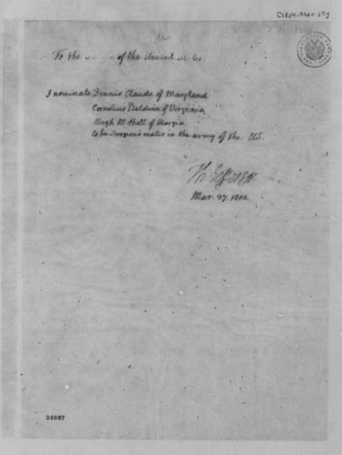 Thomas Jefferson to Senate, March 27, 1804