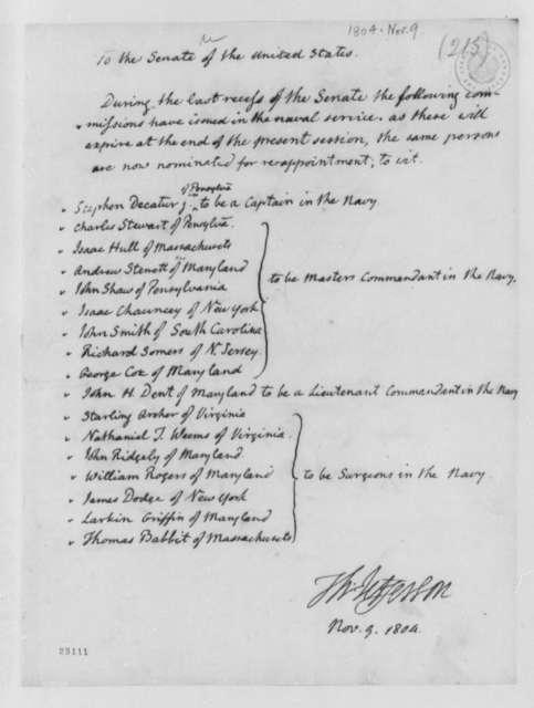 Thomas Jefferson to Senate, November 9, 1804, List of Naval Commissions
