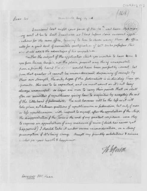 Thomas Jefferson to Thomas McKean, August 19, 1804