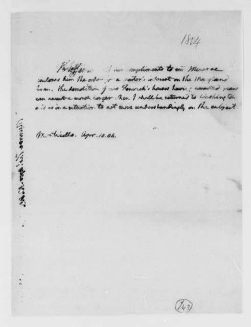 Thomas Jefferson to Thomas Munroe, Superintendent of the City, April 10, 1804