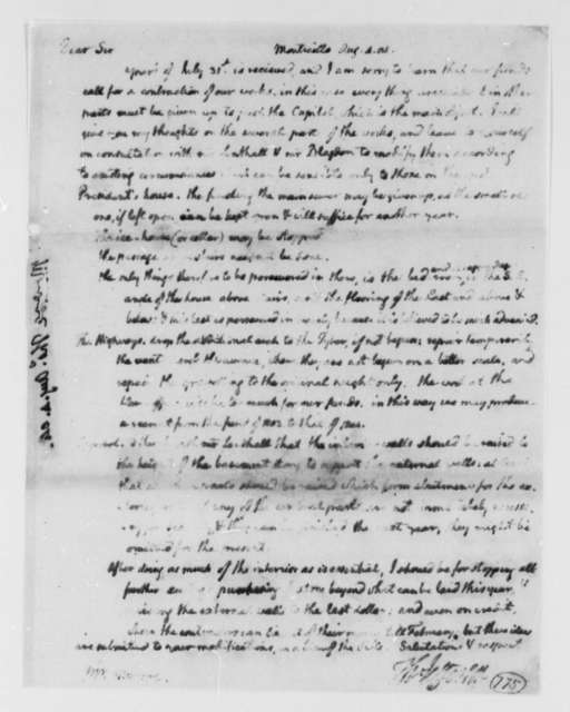 Thomas Jefferson to Thomas Munroe, Superintendent of the City, August 4, 1804