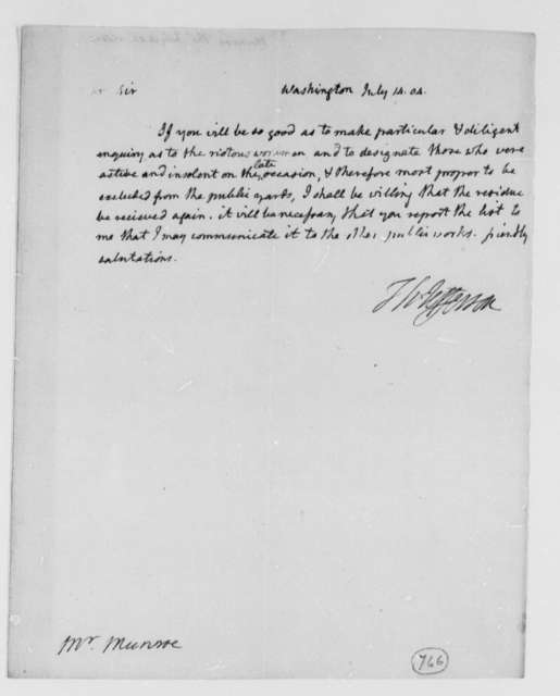 Thomas Jefferson to Thomas Munroe, Superintendent of the City, July 14, 1804