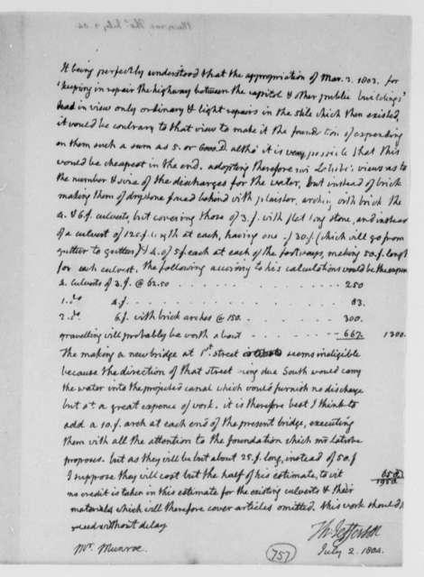 Thomas Jefferson to Thomas Munroe, Superintendent of the City, July 2, 1804