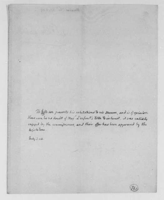 Thomas Jefferson to Thomas Munroe, Superintendent of the City, July 8, 1804