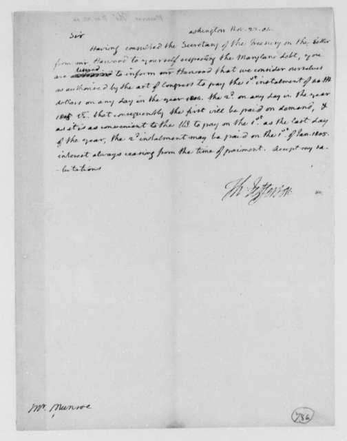 Thomas Jefferson to Thomas Munroe, Superintendent of the City, November 22, 1804