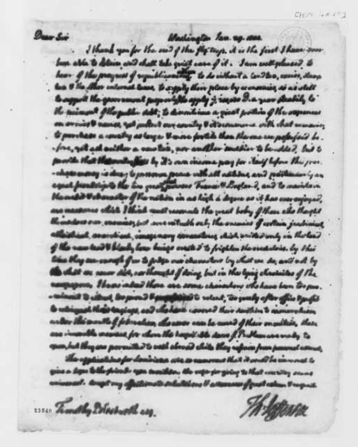 Thomas Jefferson to Timothy Bloodworth, January 29, 1804
