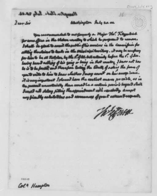 Thomas Jefferson to Wade Hampton, July 20, 1804