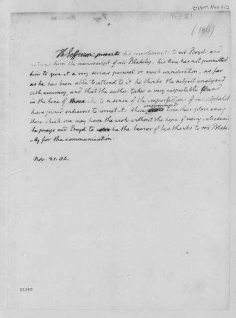 Thomas Jefferson to Walter Boyd, November 21, 1804