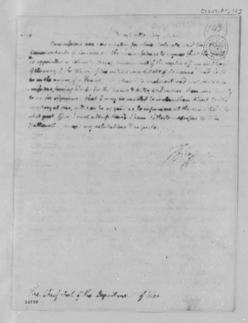 Thomas Jefferson to War Department, August 16, 1804