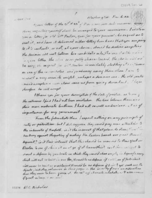 Thomas Jefferson to Wilson Cary Nocholas, December 6, 1804, Partial transcription