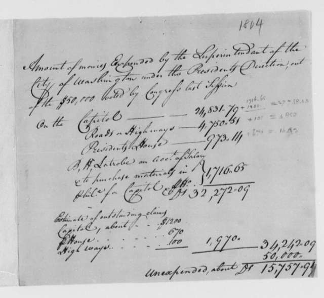 Thomas Munroe, Superintendent of the City to Thomas Jefferson, 1804, Expenditures of Superintendant of the City of Washington, D.C.