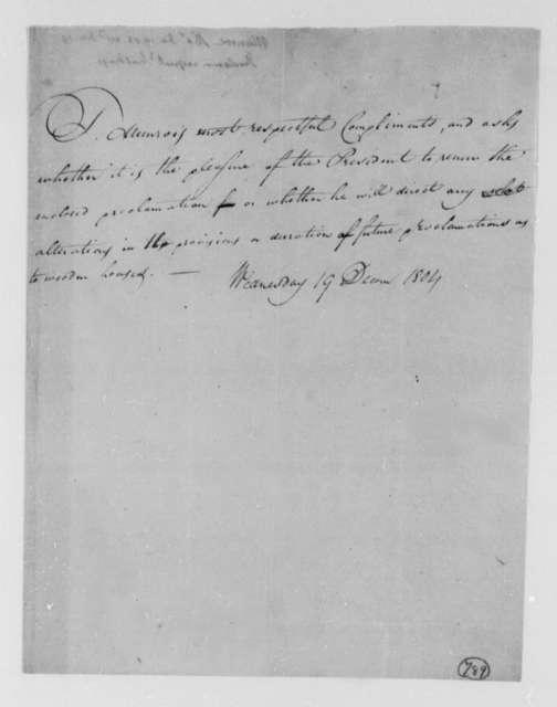 Thomas Munroe, Superintendent of the City to Thomas Jefferson, December 19, 1804