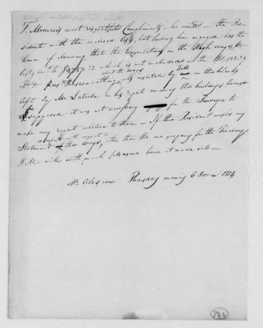 Thomas Munroe, Superintendent of the City to Thomas Jefferson, December 6, 1804