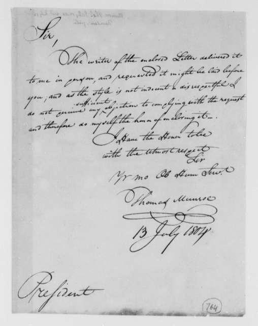 Thomas Munroe, Superintendent of the City to Thomas Jefferson, July 13, 1804