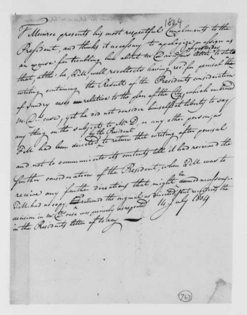Thomas Munroe, Superintendent of the City to Thomas Jefferson, July 14, 1804, two same date