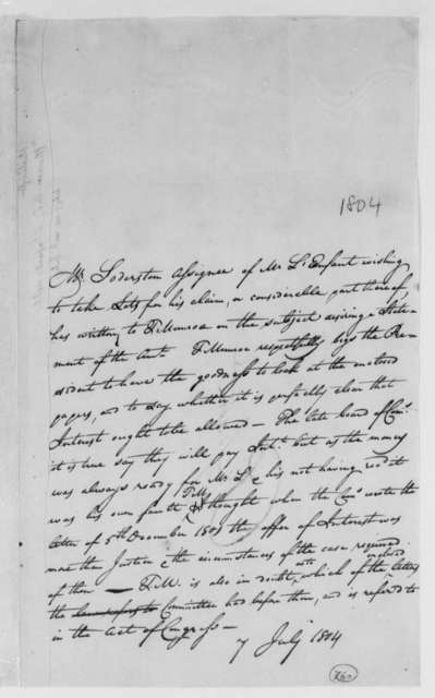 Thomas Munroe, Superintendent of the City to Thomas Jefferson, July 7, 1804