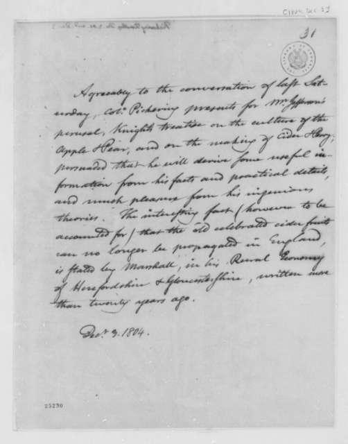 Timothy Pickering to Thomas Jefferson, December 3, 1804