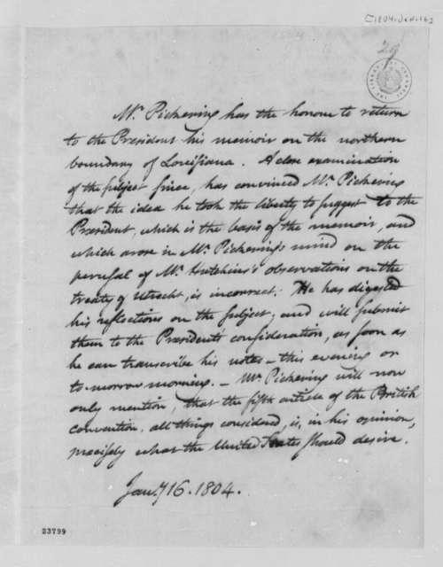 Timothy Pickering to Thomas Jefferson, January 16, 1804