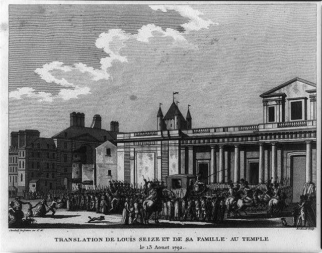 Translation de Louis seize et de sa famille au temple le 13 Aoust 1792 / Swebach Desfontaines inv. & del. ; Berthault sculp.