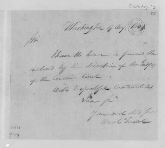Uriah Forrest to Thomas Jefferson, August 17, 1804
