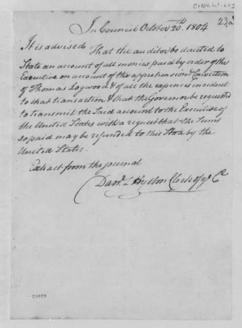 Virginia Council, November 20, 1804, Logwood Thomas Account