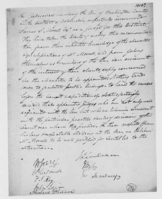 Washington, D.C., Bar Association to Thomas Jefferson, 1804, Recommendation for Judge