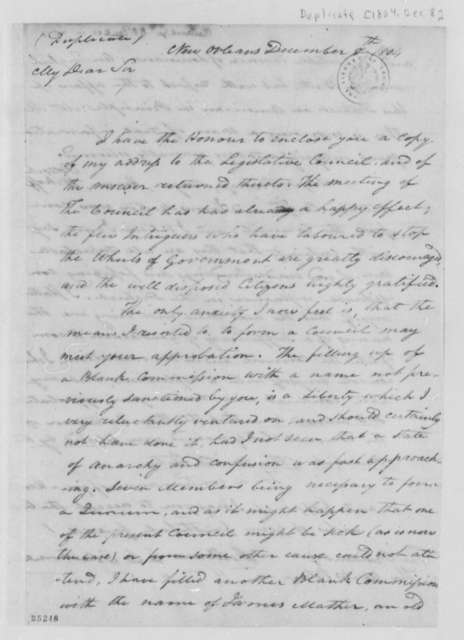 William C. C. Claiborne to Thomas Jefferson, December 8, 1804, with Draft