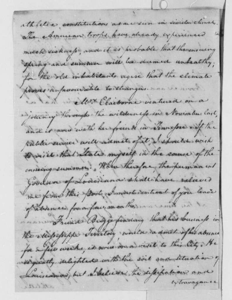 William C. C. Claiborne to Thomas Jefferson, January 16, 1804
