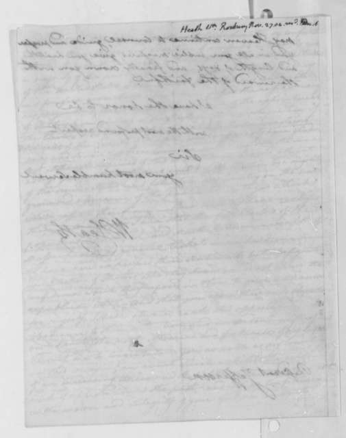 William Heath to Thomas Jefferson, November 27, 1804