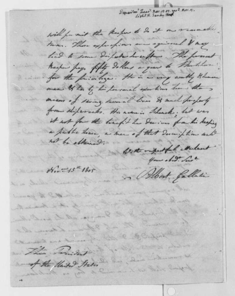 Albert Gallatin to Thomas Jefferson, November 15, 1805