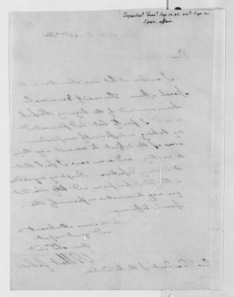 Albert Gallatin to Thomas Jefferson, September 12, 1805