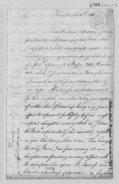 Alexander Wilson to Thomas Jefferson, September 30, 1805
