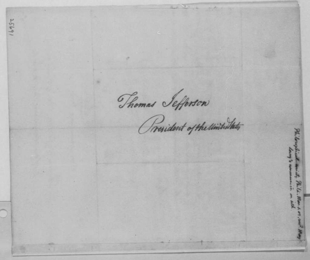 American Philosophical Society to Thomas Jefferson, March 1, 1805