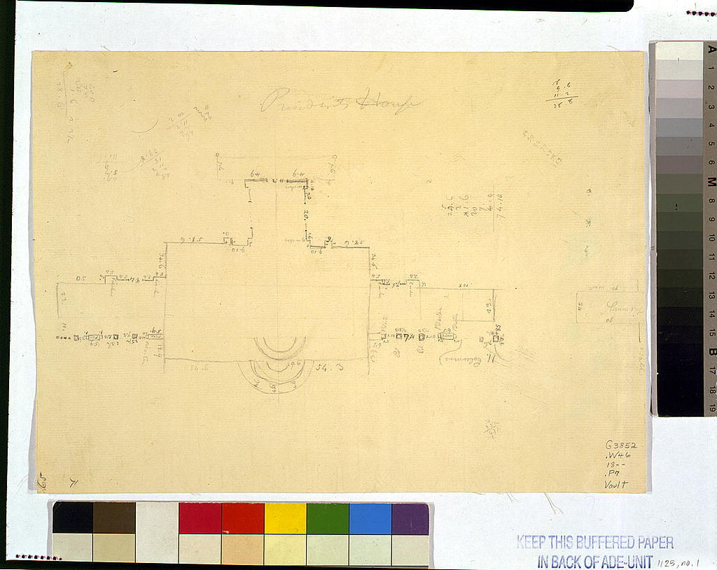 """Architectural drawing for alterations to the White House (""""President's House""""), Washington, D.C."""