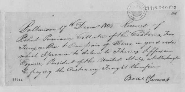 Beal Clement to Robert Purviance, December 17, 1805