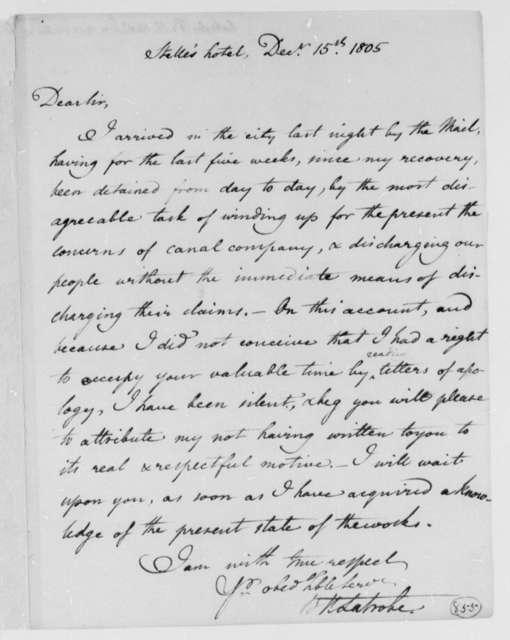 Benjamin H. Latrobe, Surveyor of the Public Buildings to Thomas Jefferson, December 15, 1805