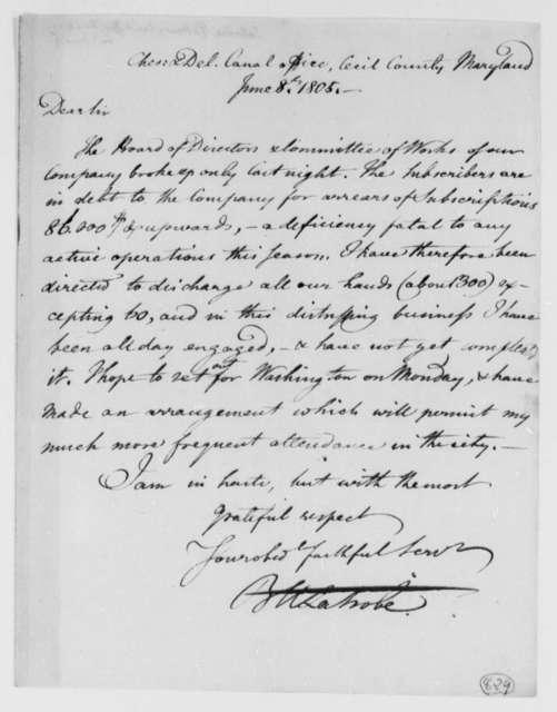 Benjamin H. Latrobe, Surveyor of the Public Buildings to Thomas Jefferson, June 8, 1805