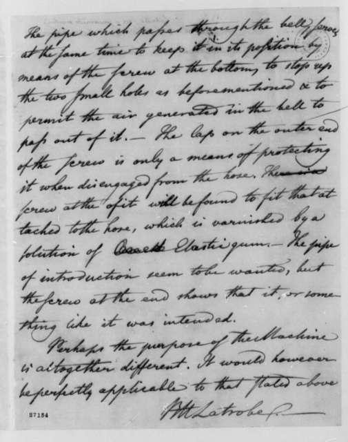 Benjamin H. Latrobe to Thomas Jefferson, 1805, with Drawing