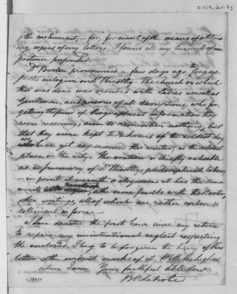 Benjamin H. Latrobe to Thomas Jefferson, January 5, 1805, with Drawing