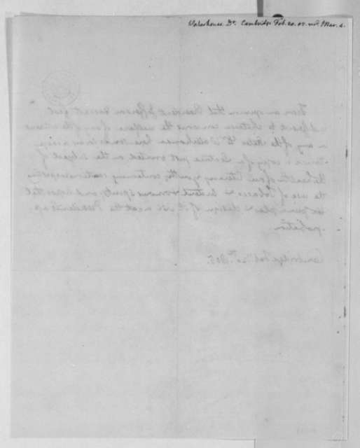 Benjamin Waterhouse to Thomas Jefferson, February 20, 1805