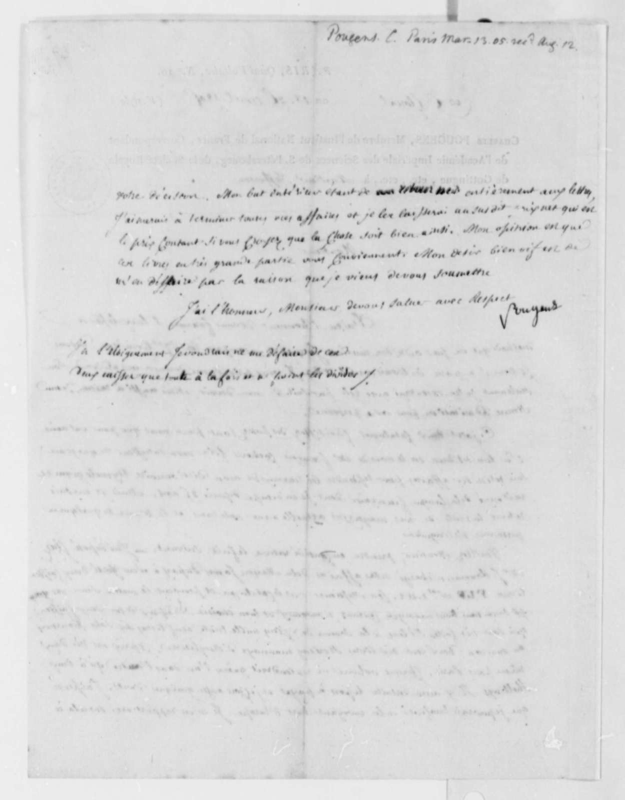 Charles de Pougens to Thomas Jefferson, April 29, 1805, in French