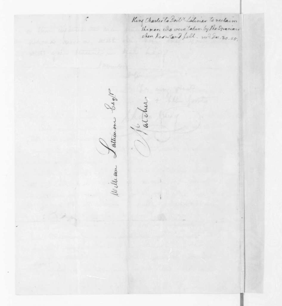Charles King to William Lattimore, September 20, 1805. With Jefferson endorsement.