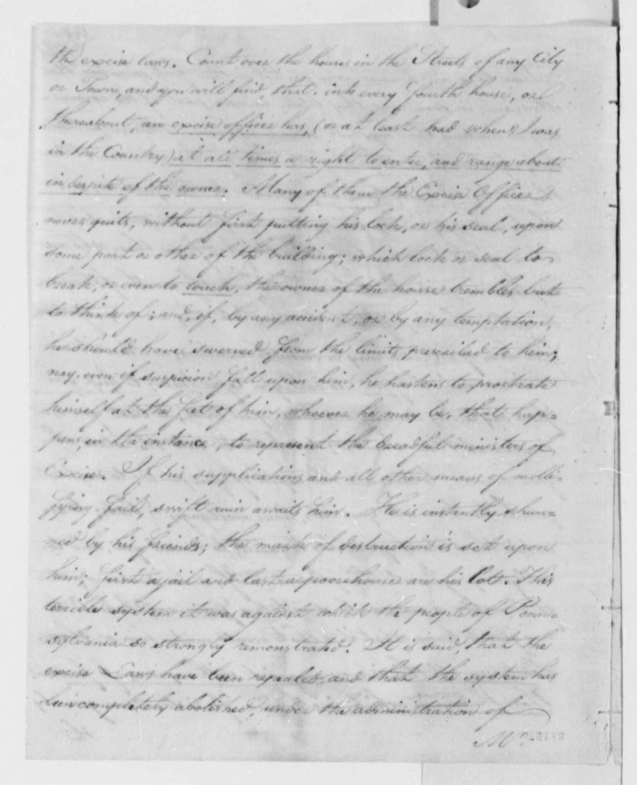Charles Pinckney to Thomas Jefferson, March 1805