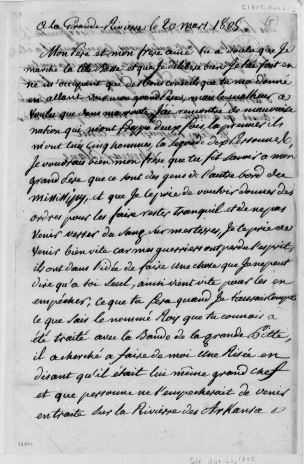 Cheveux Blanc to Pierre Chouteau, March 20, 1805