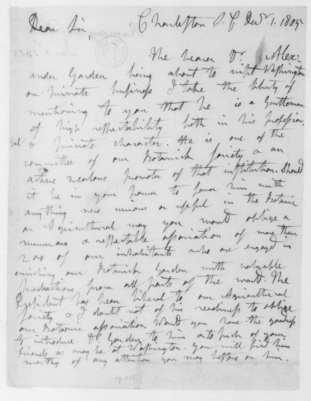 David Ramsay to James Madison, December 1, 1805.